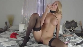 real luxurious huge-titted silver-blonde on a leash and.