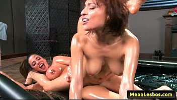 supah-hot and mean lesbos - oily playtime with.