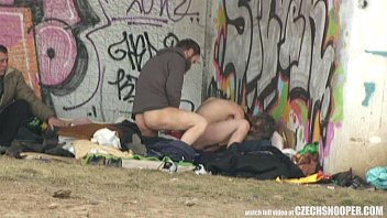 unspoiled street life homeless 3 way having lovemaking.