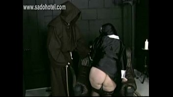 Master priest pulls skirt up and panties down and spanks naughty nun on her firm ass