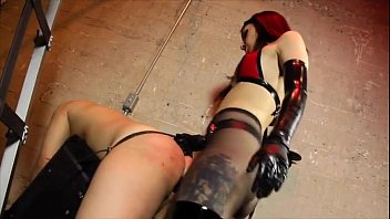 dominatrix pounding sub with monstrous dark-hued.