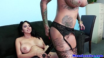 big-boobed lesbo domination honey strapon assfucking.